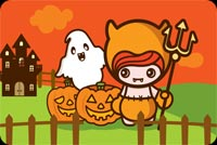 Cartoon Girl Halloween Stationery, Backgrounds
