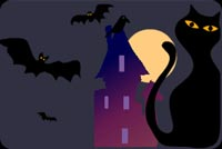 Halloween email stationery. Black Cat And Flying Bats