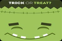 Halloween email stationery. Trick Or Treat Frankenstein
