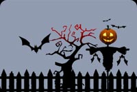 Halloween email stationery. Pumpkin Face Scare Crow