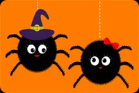 Cute Spiders! Happy Halloween! Stationery, Backgrounds