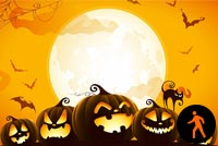 Animated Halloween Moon Pumpkins Cat Spider & Bats Stationery, Backgrounds