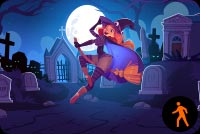 Animated Cute Floating Witch In Cemetery Stationery, Backgrounds