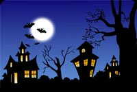 Creepy Halloween Village Stationery, Backgrounds