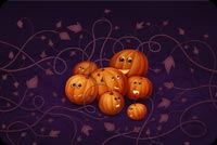 Halloween email stationery. 7 Orange Pumpkins