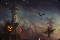 Halloween Castle Pumpkin & Walking Scarecrow Stationery, Backgrounds