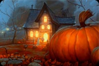 Happy Halloween House Stationery, Backgrounds