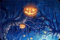 Forest Pumpkin Graveyard Halloween Stationery, Backgrounds