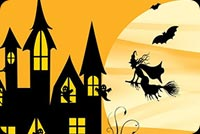 Halloween email stationery. Witch Night, Ghosts, Bats & Moon