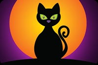 Black Cat Orange Moon Night Stationery, Backgrounds