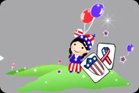 Cute Girl Celebrating July 4th Stationery, Backgrounds