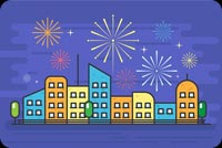 City Fireworks Stationery, Backgrounds