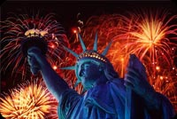 July 4th email stationery. Statue Of Liberty And Fireworks