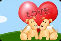 Love email stationery. 2 Dogs And A Red Heart