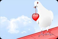 Love email stationery. Pigeon Carrying A Red Heart