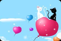 Black And White Cat On Heart Balloon Stationery, Backgrounds