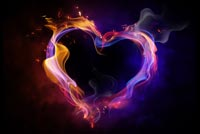 Colorful Heart Shaped Flame Stationery, Backgrounds