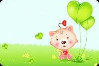 Cat And Green Balloons Stationery, Backgrounds