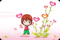 Little Boy And Heart Shaped Flowers Stationery, Backgrounds