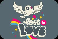 Bird Lost In Love Stationery, Backgrounds
