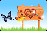 Love email stationery. Heart And Colorful Butterflies