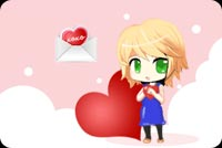 Love email stationery. Little Girl And Red Heart