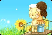 Miss you email stationery. Little Girl With Her Bear