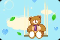 Bear Waiting On A Swing Stationery, Backgrounds