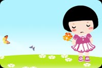 Miss you email stationery. Little Girl With Flowers