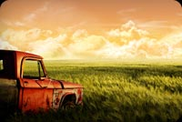 Old Truck And Long Grass Stationery, Backgrounds