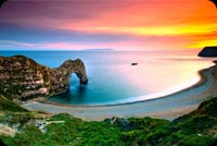 Durdle Door Beautiful Sunset Ocean Landscape Stationery, Backgrounds