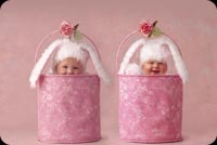 New baby email stationery. 2 Babies In Pink Container