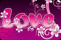 Purple Love With Flowers Stationery, Backgrounds