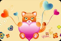Cat Holding A Heart Stationery, Backgrounds