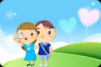 Little Boy And Girl Plays Stationery, Backgrounds