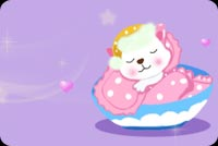 Baby Sound Asleep In Pastel Bed Stationery, Backgrounds