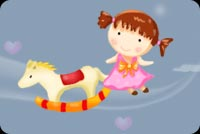 Little Girl Playing Horsey Stationery, Backgrounds