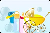 A Stroller And Milk Containers Stationery, Backgrounds
