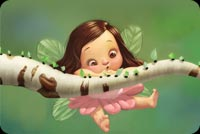 New baby email stationery. Cuttle Girl Fairy Flying