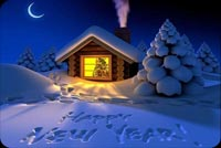 New year email stationery. New Year Snow Greeting