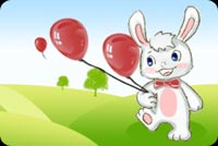 Happy Rabbit Holding Balloons Stationery, Backgrounds