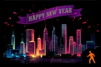 Animated Happy New Year City Fireworks Stationery, Backgrounds