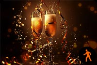 Animated Champagne Happy New Year Stationery, Backgrounds