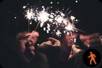 Animated People Celebrating New Year Stationery, Backgrounds