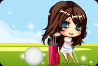 Sports email stationery. Wide Eyed Girl Playing Golf