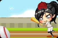 Sports email stationery. Girl Playing Baseball