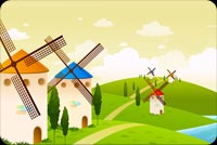 Spring email stationery. Windmills At Springtime