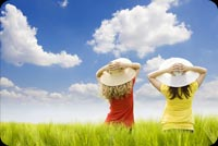 2 Girls Enjoying The Clear Skies Stationery, Backgrounds