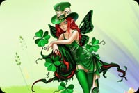 St patricks day email stationery. Green Fairy With Flowers