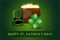 St patricks day email stationery. Lucky Clover Pot Of Gold & Green Hat